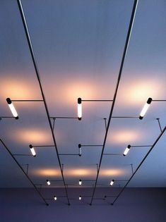 A false ceiling effect created by a system of tube lighting in the lobby of the Bauhaus building.