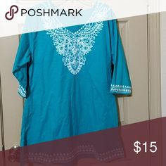 Woven dress nwt Blue with white embroidery, cotton can also be used as swim coverup Chances R Dresses Mini