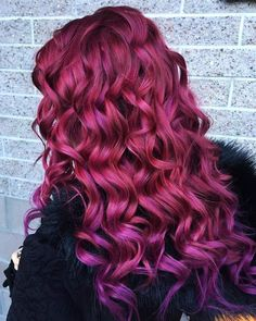 My own hair. Purple on faded red hair colour. Hairdresser used Inebrya colours :)