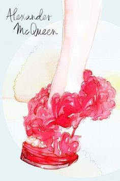 Illustration by Samamtha Hahn:  Alexander McQueen shoe,