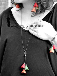 Collection HIVER 2014-2015 / L'Eté Indien de ZAELLEZA / Boucles d'oreille, Sautoir et Bracelet PAWNEE #cuir  #eteindien #zaelleza