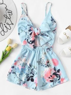 Women's V-Neck Casual Sleeveless Tie Front Floral Print Cami Romper Teen Fashion Outfits, Outfits For Teens, Girl Fashion, Girl Outfits, Miami Outfits, Fashion Women, Fashion Styles, Fashion Boots, Miami Fashion