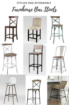 A list of budget friendly farmhouse style bar stools with backs that won't break the bank! This list includes woven bar stools, x back bar stools and more! Farmhouse Style Bar Stools, Rustic Bar Stools, Farmhouse Kitchen Tables, Outdoor Bar Stools, Modern Farmhouse Kitchens, Home Decor Kitchen, White Kitchens, Farm House Bar Stools, Modern Stools