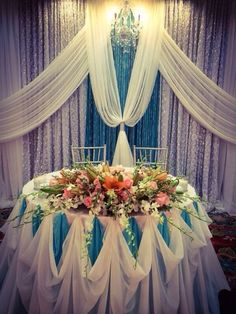 "Photo of Valley Event Décor - ""Sweetheart table"" - San Jose, CA Cake Table Decorations, Stage Decorations, Wedding Decorations, Wedding Reception Backdrop, Wedding Stage, Bridal Table, Sweetheart Table, Event Decor, Wedding Designs"
