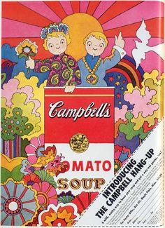 psychedelic soup! Campbells Soup ad, 1968, a la Peter Max
