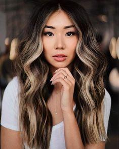 Blonde Asian Hair, Balayage Asian Hair, Dark Brown Hair With Blonde Highlights, Beige Blonde Balayage, Hair Color Asian, Dark Blonde Hair, Sandy Blonde, Dark Hair With Balayage, Dark Chocolate Brown Hair