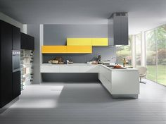 modern kitchen - grey, black, white, yellow