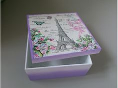 Diy Crafts And Hobbies, New Crafts, Decor Crafts, Paper Crafts, Decoupage Vintage, Decoupage Box, Painted Boxes, Wooden Boxes, Shabby Chic Boxes