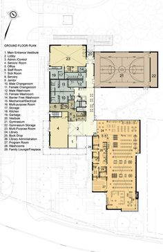 Brooklin Community Centre And Library,Plan Plans Architecture, Library Architecture, Cultural Architecture, Education Architecture, Concept Architecture, Public Library Design, Kids Library, School Building Design, School Design