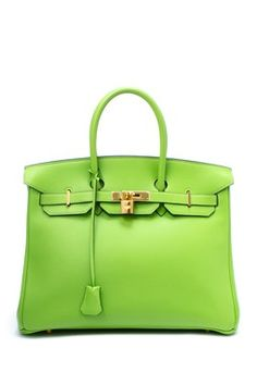 Vintage Hermes Leather Birkin 35 Handbag (Stamp: Square C, Gold Hardware) - Light Green