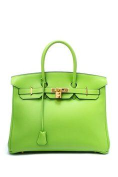 Vintage Hermes Leather Birkin 35 Handbag (Stamp: Square C, Gold Hardware) - Light Green