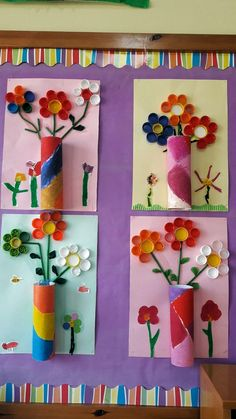 Beautiful wall decoration made of toilet paper rolls: flower vase with content. - Beautiful wall decoration made of toilet paper rolls: flower vase with content. Diy Paper Crafts how to make paper vase diy craft Kids Crafts, Spring Crafts For Kids, Summer Crafts, Toddler Crafts, Easter Crafts, Art For Kids, Arts And Crafts, Easter Decor, Kids Fun