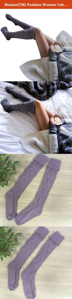 Binmer(TM) Fashion Women Cable Knitted Long Boot Socks Over Knee Thigh High Stocking (Purple). Specifications: Gender:Women Thickness:Standard Material:Cotton blend Pattern type:Solid Length:50cm Style:Casual Package include:1 Pair Women Stockings.