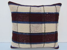 "Turkish Kilim Kelim Rug Pillow Cover 16"" X 16"" Area Rug Pillow #Turkish"