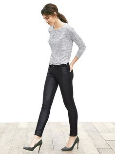 Sloan-Fit Faux-Leather Front Skinny Ankle Pant Product Image