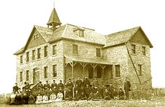 Students and staff, Red Deer Institute, circa 1890.