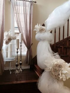 Gorgeous bridal railing decor by Timeless Creative Decor Home Wedding, Creative Decor, Event Decor, Wedding Decorations, Bridal, Design, Home Decor, Wedding At Home, Decoration Home