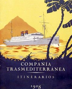 COMPAÑÍA TRASMEDITERRÁNEA Itinenary 1928 Vintage Travel Poster