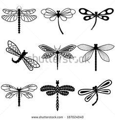 Silhouettes de libellules monochromes stylisées