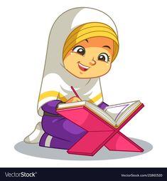 Moslem girl reading quran vector image on - Kurani Oku Kids Vector, Dog Vector, Vector Free, Reading Al Quran, Illustrator Ai, Dossier Photo, Islamic Cartoon, Islam For Kids, Diy Home
