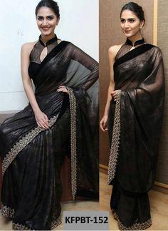 Vani Kapoor Foil Georgette Black Replica Saree