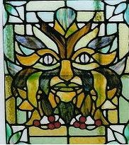 stained glass green man