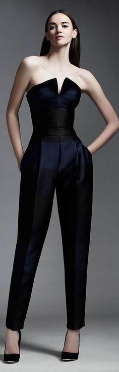 Fall / Winter - Spring / Summer - party style - formal wear - navy and black straples split-front neckline jumpsuit by Stella McCartney + black suede stilettos