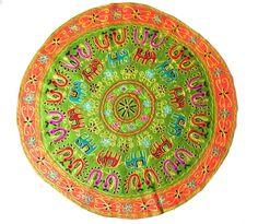 Elephant Kutch Round Tapestry