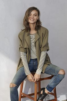 Looking for a versatile and chic piece to add to your closet? Style our olive green drapey drawstring jacket over a tee for a relaxed weekend outfit, or with a black dress for a more sophisticated look | Banana Republic