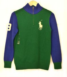 Youth Polo Ralph Lauren Green Rugby Pullover Zip Neck Knit Sweater Pony L14-16  #PoloRalphLauren #Pullover