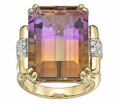 20 ct Ametrine and Diamond Accent Ring, 14K Yellow Gold