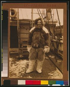 """Peary on the main deck of steamship """"Roosevelt"""""""