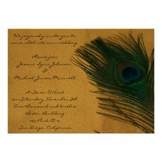 Metallic Gold Peacock Wedding.  The golden color of the background makes the green and blue peacock bird feather look elegant.