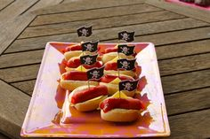 Pirate Dogs 4th Birthday Cakes, Pirate Birthday, 4th Birthday Parties, Pirate Party, Pirate Theme, Birthday Ideas, Party Food And Drinks, Childrens Party, Pirate Ships