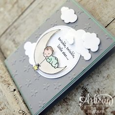 Holly's Hobbies: Create this sweet and adorable baby card using Moon Baby and the Up & Away Framelits Dies - both from @Stampinup. Aren't baby cards the cutest??