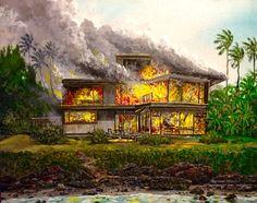 My Studio Burns! Dec.5,1984 24x30 Acrylic/canvas by Robert Lyn Nelson  Ocean front home in Kahana,Maui- 1984 #history #artisthistory  @robertlynnelson.com