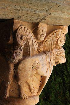 Prieuré de Serrabone - Romanesque priory - Canigou, France Romanesque Sculpture, Romanesque Art, Romanesque Architecture, Church Architecture, Image Du Christ, Art Roman, Sculptures, Lion Sculpture, Carolingian