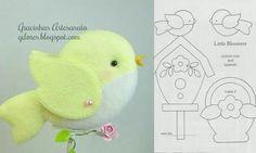 ARTE COM QUIANE - Paps,Moldes,E.V.A,Feltro,Costuras,Fofuchas 3D: passarinho de feltro delicado