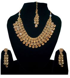 Indian Bollywood Kundan Polki Gold Stone Necklace #Earrings #Jewelry Set for Women #Handmade