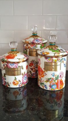 MacKenzie-Childs Spring Kitchen Decor White Farmhouse Canisters