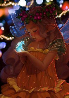 baby elf and the magic unicorn by tsvetka-