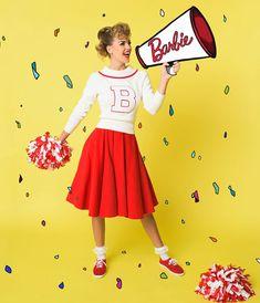 Barbie x Unique Vintage Red Corduroy Cheerleader Swing Skirt Burgundy Casual Dress, Burgundy Sweater, Burgundy Color, Brigitte Bardot, Maroon Shirt Outfit, Letterman Sweaters, Vintage Brand Clothing, Halloween Outfits, Halloween Halloween