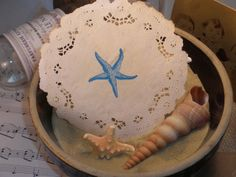 Nautical Shell and Starfish Coffee Stained by LazyDayCottage, $4.25