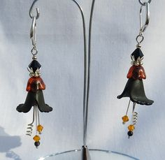 Fussy Flower Earrings - Hand Dyed Lucite Calla Lily in Black, Orange and Silver - Halloween in the Spring!