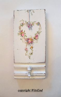 Roses Wreath painting on antique architectural wood by 4WitsEnd, via Etsy