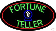 Green Fortune Teller Red Oval Real Neon Glass Tube Neon Sign,Affordable and durable,Made in USA,if you want to get it ,please click the visit button or go to my website,you can get everything neon from us. based in CA USA, free shipping and 1 year warranty , 24/7 service