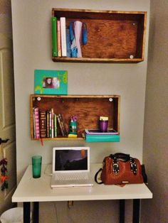 Stained wooden boxed book shelves
