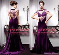 2014 vestidos de fiesta New Sexy Nude Long Sleeve Purple Velet Evening Dresses Beaded Applique Mermid Backless Formal Prom Gown BO3006, Free shipping, $117.39/Piece | DHgate Mobile