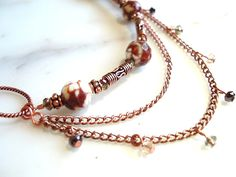 Brown Agate and Crystal, Asymmetrical Multi-Strand Necklace