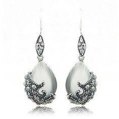 925 Sterling Silver Jewelry New Retro Vintage Charms Cubic Zircon Diamond Rhinestone Crystal Bijoux Stud Earring Women Gift B044